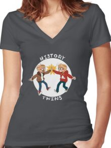 Canada and America History Twins Women's Fitted V-Neck T-Shirt