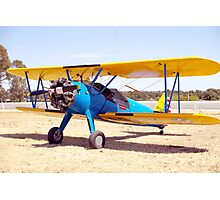Blue and yellow Bi-Plane Photographic Print