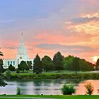 Idaho Falls Temple Sunrise Reflection 20x30 by Ken Fortie