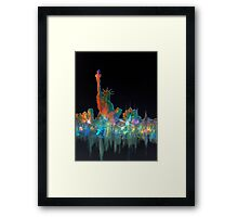 Liberty And New York Skyline Framed Print