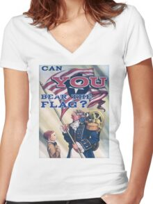 BioShock Infinite – Can You Bear the Flag? Women's Fitted V-Neck T-Shirt