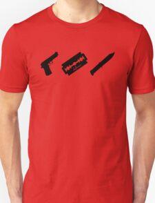 Guns! Razors! Knives! (Black) T-Shirt