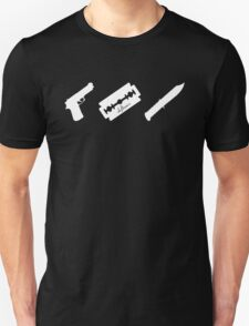 Guns! Razors! Knives! (White) T-Shirt