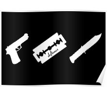 Guns! Razors! Knives! (White) Poster