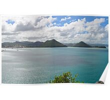 St. Lucia Landscape from Fort Rodney Poster