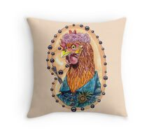 red fowl with flower crown and black fork rosary Throw Pillow