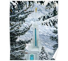 Mount Timpanogos Temple Between the Evergreens 20x24 Poster