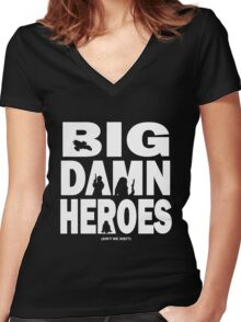 Big Damn Heroes White Women's Fitted V-Neck T-Shirt