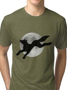 Full Moon Black Wolf Tri-blend T-Shirt