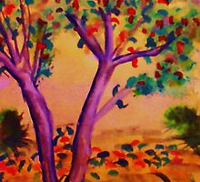 The Beginning of Fall, watercolor by Anna  Lewis, blind artist
