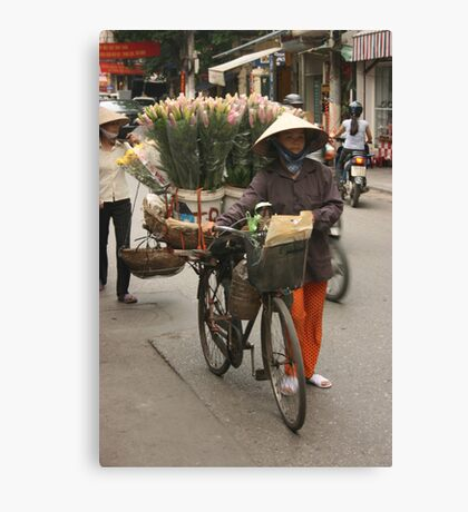 flower sellers | Hanoi Vietnam Canvas Print