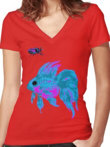 cool electric goldfish & bug Women's Fitted V-Neck T-Shirt