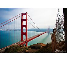 Golden Gate Bridge with Rusty Fence Photographic Print