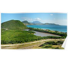 St. Kitts Landscape and Nevis Volcano Poster