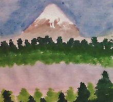 Mount Shasta and lake, watercolor by Anna  Lewis