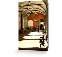Bicycles in Bologna's sunset Greeting Card