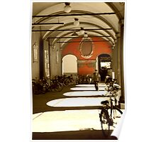 Bicycles in Bologna's sunset Poster