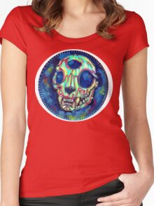psychedelic psychic cat skull Women's Fitted Scoop T-Shirt