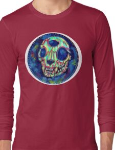 psychedelic psychic cat skull Long Sleeve T-Shirt