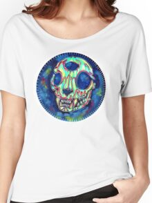 psychedelic psychic cat skull Women's Relaxed Fit T-Shirt