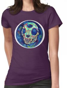 psychedelic psychic cat skull Womens Fitted T-Shirt