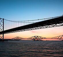Forth Bridges at Dawn by chriscyner