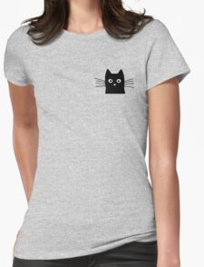 Black Cat Face Womens Fitted T-Shirt