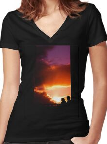 Sunset Couple series Women's Fitted V-Neck T-Shirt