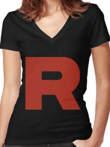 R Team Rocket Pokemon Women's Fitted V-Neck T-Shirt