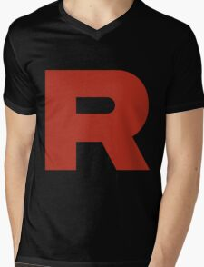 R Team Rocket Pokemon Mens V-Neck T-Shirt