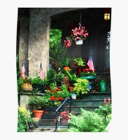 Porch With Geraniums and American Flags Poster