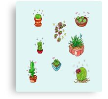 kawaii cacti Canvas Print