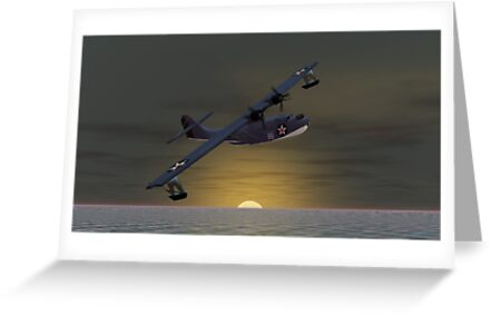 Catalina Sunset  (PBY Catalina) by Walter Colvin