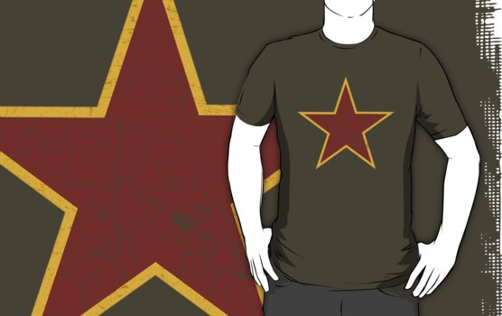 Vintage look Red and Gold Star by Chuffy