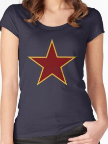 Vintage look Red and Gold Star Women's Fitted Scoop T-Shirt