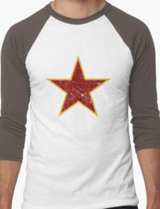 Vintage look Red and Gold Star Men's Baseball ¾ T-Shirt