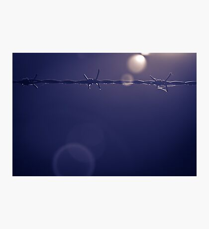 Barbed Wire Sunset in Shropshire Photographic Print