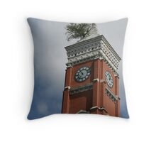a tree grows from it ~ Decatur Courthouse tower, Greensburg, IN Throw Pillow
