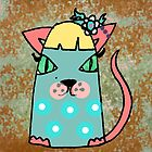 Chloe the cat has a flower in her hair by PoshCatDesigns