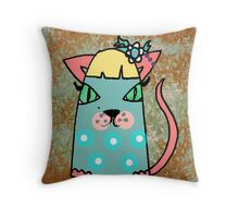 Chloe the cat has a flower in her hair Throw Pillow