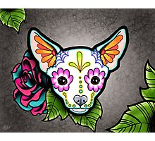 Day of the Dead Chihuahua in White Sugar Skull Dog Photographic Print