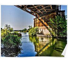 swollen American River, upstream of Discovery Park, Sacramento CA Poster