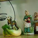 Monkey And Farmers Wives, Ceramic figures, Thrift Store Misc. Shelf by Timothy Wilkendorf