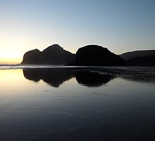Sunset at Bethells beach by chrissy mitchell