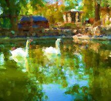 Swans in the Lake. Modern Painting. by Vitta