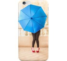 Blue umbrella iPhone Case/Skin