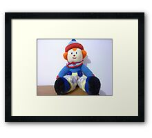 Hand knitted Clowns Framed Print
