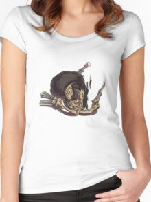 Beware of the Afro Ninja Zombie Women's Fitted Scoop T-Shirt