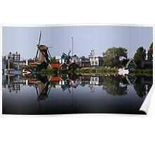 Reflection of Working Windmills-Amsterdam Poster
