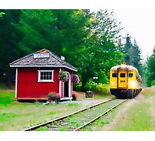 Shawnigan Train Station and the Dayliner - Vancouver Island BC Photographic Print